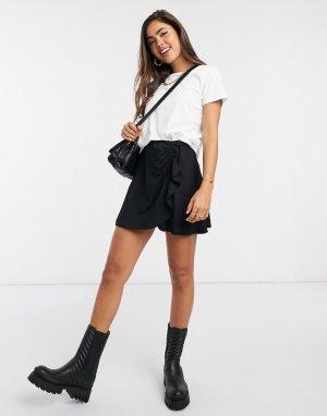 Черная мини-юбка в горошек со сборками -Черный ASOS DESIGN