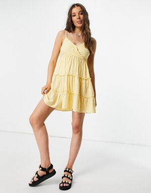 Желтое платье на бретелях в клетку -Желтый Hollister