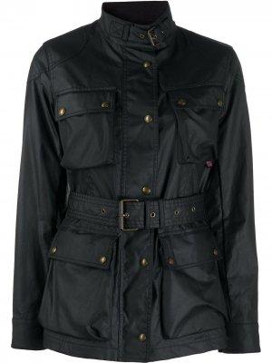 Однобортное пальто с поясом Belstaff. Цвет: черный