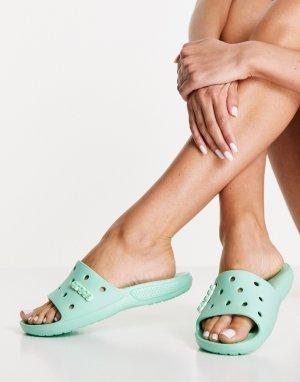 Классические сандалии-шлепанцы фисташкового цвета -Зеленый цвет Crocs