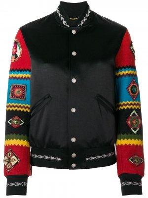 Куртка-бомбер с контрастными рукавами Saint Laurent. Цвет: черный