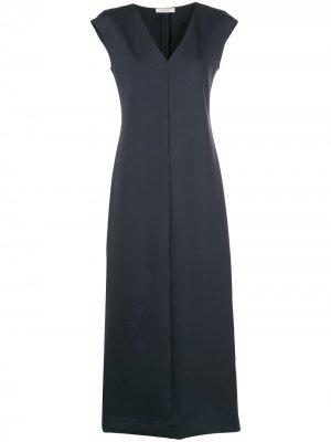 Длинное платье с V-образным вырезом The Row. Цвет: синий