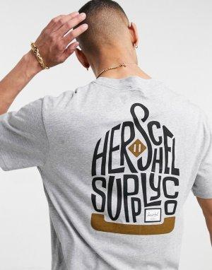 Серая футболка с круглым вырезом и логотипом на груди -Серый Herschel Supply Co