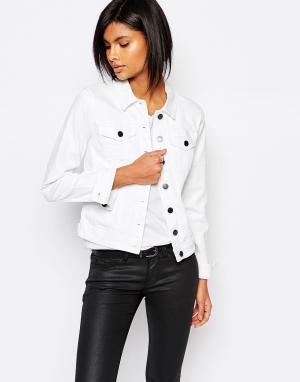 Белая джинсовая куртка Vila. Цвет: белый