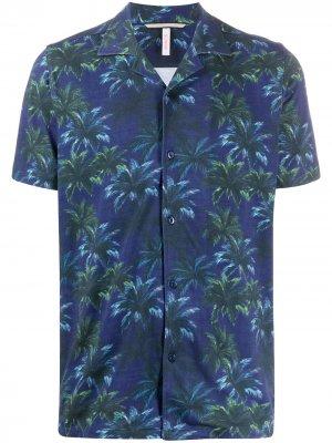 Рубашка с короткими рукавами и принтом Sun 68. Цвет: синий