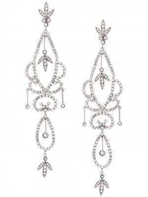Клипсы-подвески 1998-го года Christian Dior x Susan Caplan. Цвет: серебристый