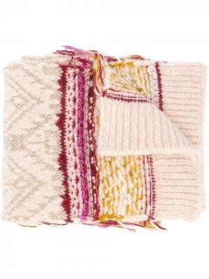 Трикотажный шарф с узором Roberto Collina. Цвет: нейтральные цвета