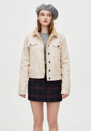 Куртка утепленная Pull&Bear. Цвет: бежевый