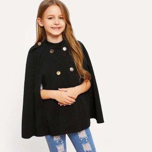 Двубортное однотонное пальто плащ для девочек SHEIN. Цвет: чёрный
