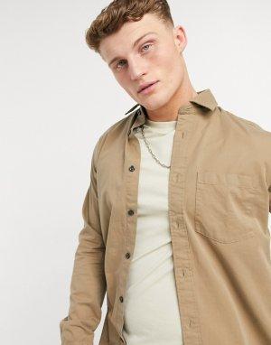 Однотонная рубашка с длинными рукавами Gaustin-Коричневый цвет Selected Homme