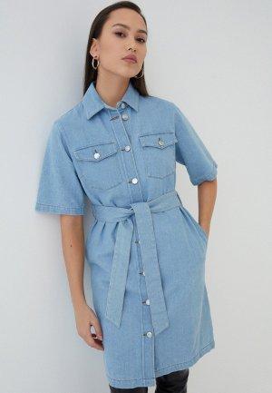 Платье джинсовое Zarina. Цвет: голубой