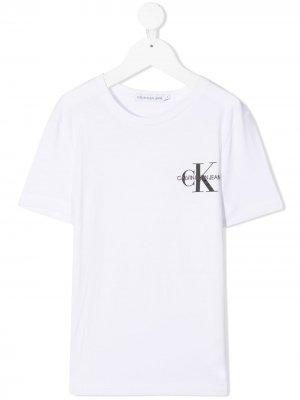 Футболка с короткими рукавами и логотипом Calvin Klein Kids. Цвет: белый
