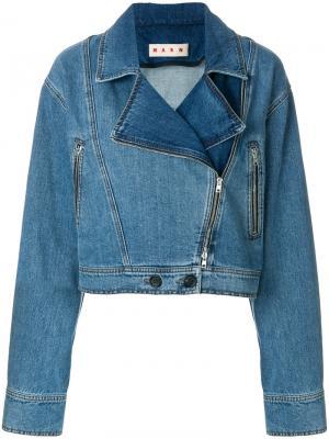 Джинсовая байкерская куртка Marni. Цвет: синий