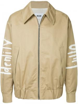Куртка-бомбер с принтом в стиле граффити MSGM. Цвет: коричневый