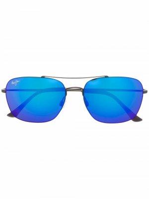 Солнцезащитные очки в круглой оправе Maui Jim. Цвет: серый