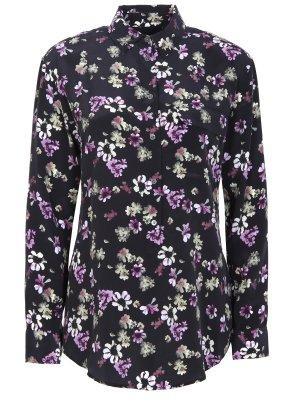 Рубашка шелковая с принтом EQUIPMENT