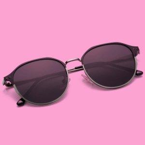 Мужские солнцезащитные очки в металлической оправе SHEIN. Цвет: чёрный