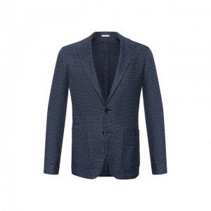 Пиджак из смеси хлопка и льна Luciano Barbera. Цвет: синий