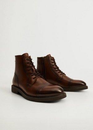 Кожаные ботинки со шнуровкой - Botincep Mango. Цвет: коричневый средний