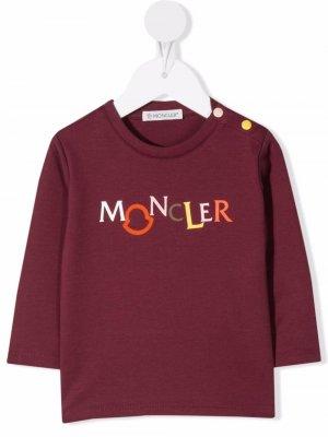 Logo-print long-sleeve T-shirt Moncler Enfant. Цвет: красный