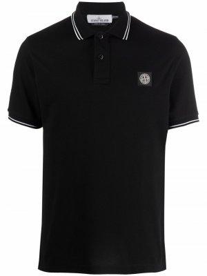Рубашка поло с контрастной отделкой Stone Island. Цвет: черный