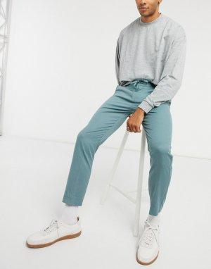Шалфейно-зеленые зауженные брюки-джоггеры в строгом стиле -Зеленый цвет Topman