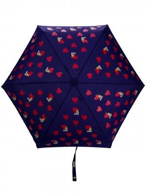 Зонт с узором Moschino. Цвет: синий