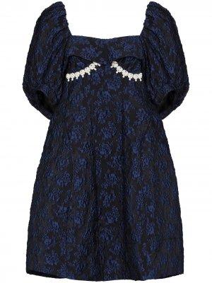 Жаккардовое платье с пышными рукавами Simone Rocha. Цвет: синий
