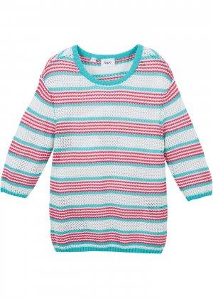 Пуловер в полоску для девочки bonprix. Цвет: синий
