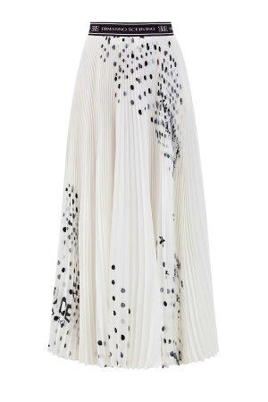 Плиссированная юбка-макси из шелкового крепдешина с абстрактным принтом ERMANNO SCERVINO. Цвет: белый