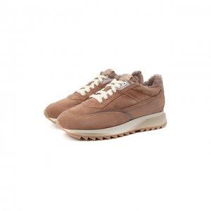 Замшевые кроссовки Santoni. Цвет: бежевый