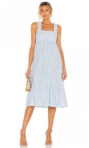 Платье миди mitzi Amanda Uprichard. Цвет: нежно-голубой