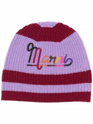 Шапка бини с вышитым логотипом Marni. Цвет: красный