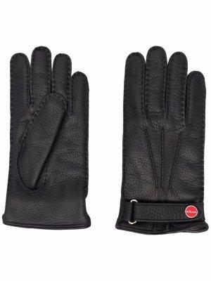 Перчатки с ремешком Kiton. Цвет: черный