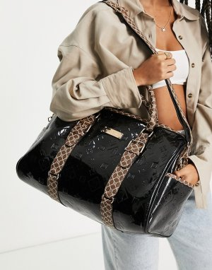 Черная спортивная сумка с лакированным тиснением и монограммой -Черный цвет River Island