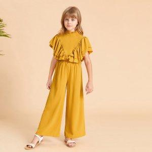 Для девочек с разрезом оборками рукавами-бабочками Топ & Брюки Набор SHEIN. Цвет: горчично-желтый
