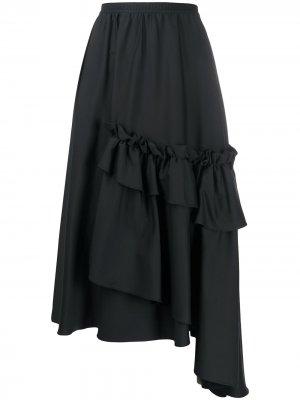 Юбка асимметричного кроя с оборками Antonio Marras. Цвет: черный