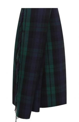 Шерстяная юбка асимметричного кроя с бахромой Balenciaga. Цвет: разноцветный