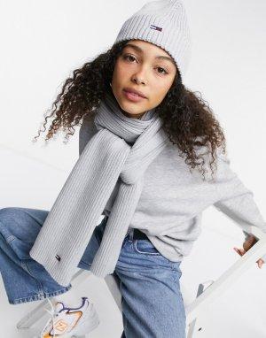 Комплект из шарфа и шапки-бини серого цвета -Серый Tommy Jeans