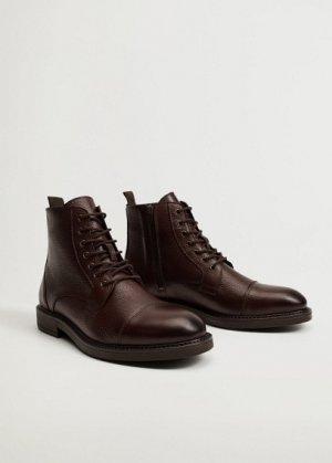 Кожаные ботинки со шнуровкой - Botincre Mango. Цвет: коричневый средний