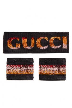 Повязка и напульсники с пайетками Gucci. Цвет: черный