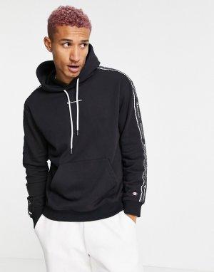 Черное худи с отделкой лентами и логотипом -Черный цвет Champion