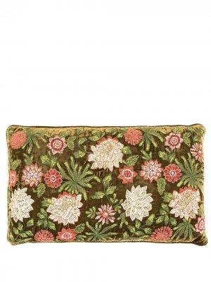 Подушка с цветочной вышивкой Anke Drechsel. Цвет: зеленый