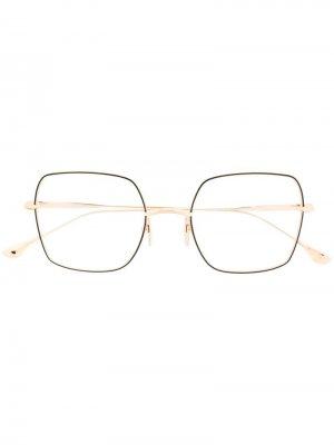 Очки в квадратной оправе Dita Eyewear. Цвет: золотистый