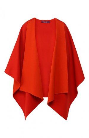 Шерстяное пончо Ralph Lauren. Цвет: оранжевый