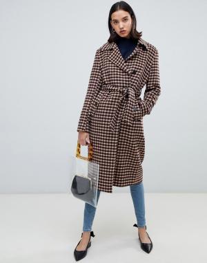 Шерстяное пальто в клетку с запахом Femme Selected. Цвет: мульти