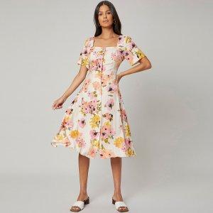 Платье миди из шелка SHEIN. Цвет: многоцветный