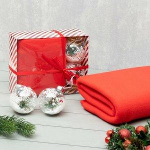 Подарочный набор lovelife: плед 150*130см (цв. красный) с новогодними игрушками LoveLife