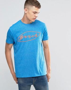 Голубая футболка с логотипом на груди Bench. Цвет: синий