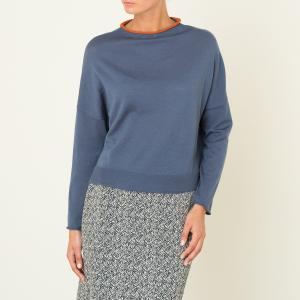 Пуловер короткий NIU. Цвет: синий/ оранжевый